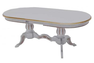 Обеденный стол Версаче 1600(+40)x900 Слоновая кость + патина золото