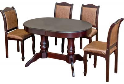 Овальный стол со стульями коричневый