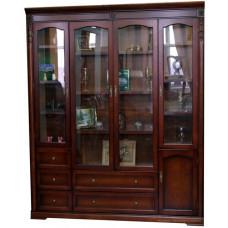 Шкаф книжный без карнизов Валенсия C05 (4 дв.) MK-1753-DN Темный орех