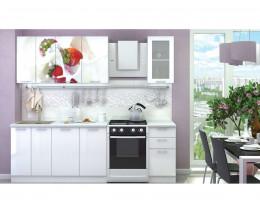 Кухня с фотопечатью Клубника со сливками