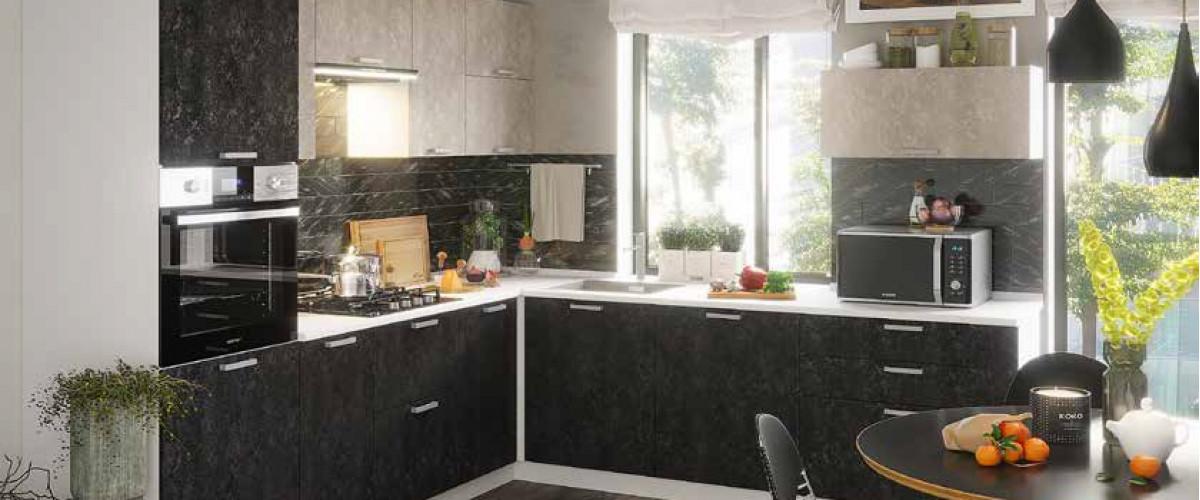 Кухня модульная бетон темный