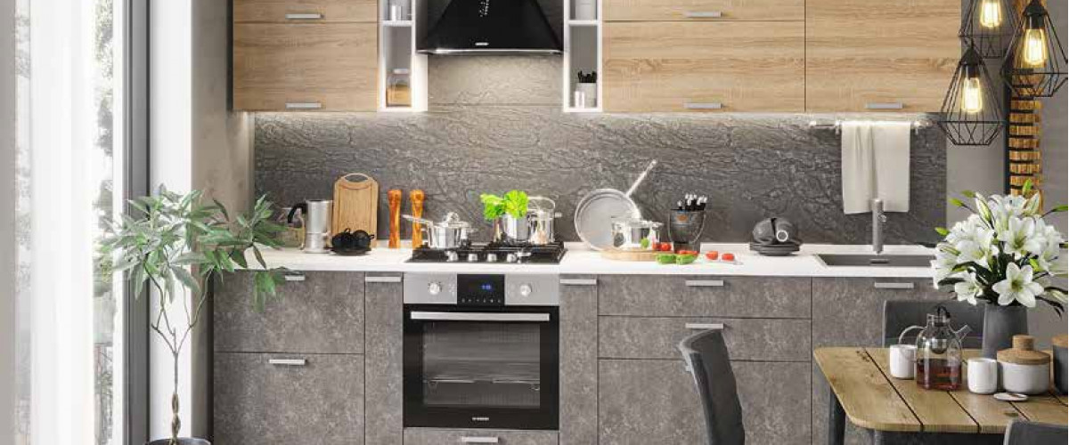 Кухня модульная бетон-сонома
