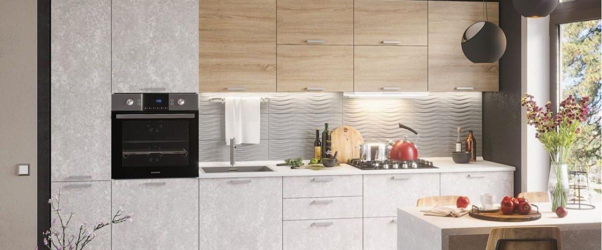 Кухня модульная бетон светлый сонома