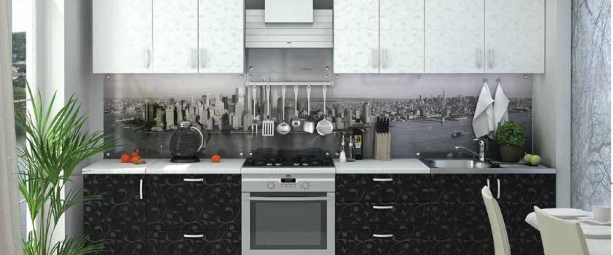 Кухня Дина черный/белый принт