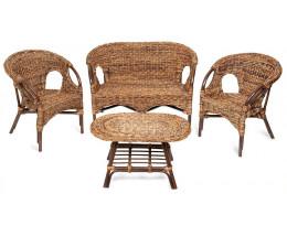Комплект из ротанга Mandalino Орех Диван, 2 кресла, Стол