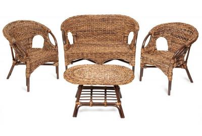 Комплект из ротанга Mandalino Орех без подушек (диван + 2 кресла + стол) Плетение-банановые листья