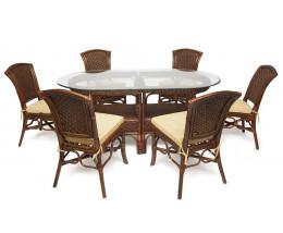 "Комплект обеденный ""ANDREA GRAND"" (стол+6 стульев) Pecan Washed (античн. орех), подушка цвет бежевый"