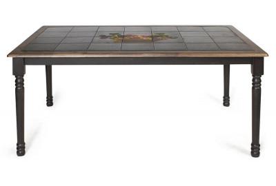 CT 3760P Стол с плиткой дерево гевея/плитка, 152х94х70см, Венге (Wenge) , рисунок-Корзина с фруктами