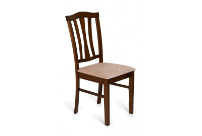 CT 8162 Стул с мягким сиденьем дерево гевея, 52х42х94см, Тёмный Дуб, ткань бежевая