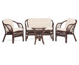 Комплект из ротанга NEW BOGOTA диван, 2 кресла, стол грецкий орех