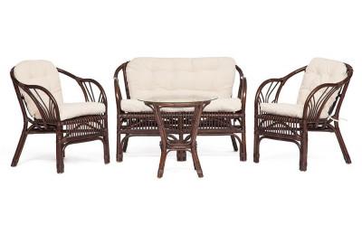 Комплект из ротанга NEW BOGOTA диван, 2 кресла, стол грецкий орех с подушками
