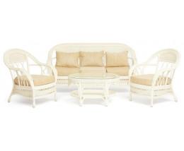 """Комплект для отдыха """"MICHELLE"""" ( стол + диван + 2 кресла ) TCH White (белый), Ткань рубчик, цвет кремовый"""