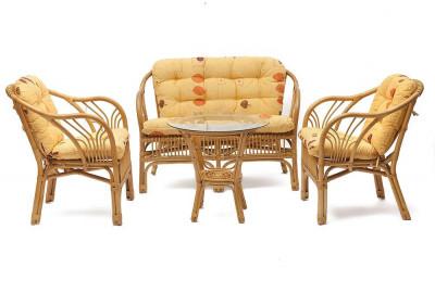 Комплект NEW BOGOTA диван,2 кресла, стол ( ротанг, мед) сподушками