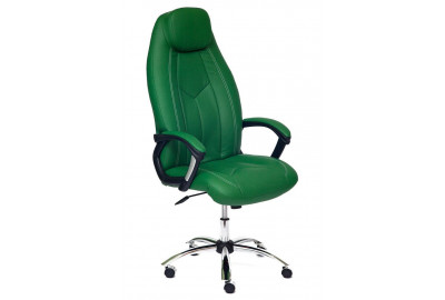 Кресло BOSS (хром) кож/зам, зеленый/зеленый перфорированный, 36-001/36-001/06