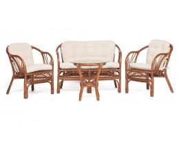 Комплект NEW BOGOTA диван, 2 кресла, стол коричневый