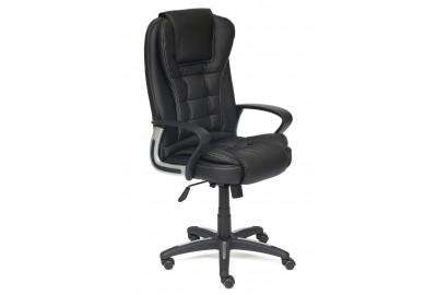 Кресло BARON кож/зам, черный+черный перфорированный, 36-6/36-6/06