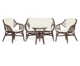 Комплект для отдыха SONOMA стол, 2 кресла, диван орех