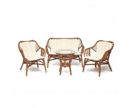 Комплект террасный SONOMA ротанг стол 2 кресла диван коричневый
