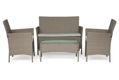 Лаундж сет (диван+2кресла+столик+подушки) (mod. 210013 А) пластиковый ротанг, 108х62х83см/60х62х83см/80х48х39см, серый, ткань: DB-11 светло-серый