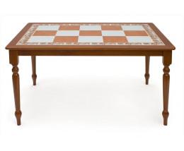 CT 3550T ( Багдад) Стол с плиткой дерево гевея/плитка, 130х90х70см, цвет Вишня, Цвет:бежеввая/коричневая плитка,периметр-Натюрморт