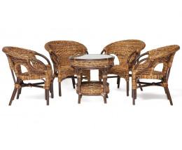 Комплект из ротанга Mandalino 4 кресла, стол Орех