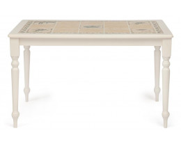 "CT 3349 Стол с плиткой дерево гевея/плитка, 124х84х75см, butter white, Рисунок - "" Прованс с бордюром"""
