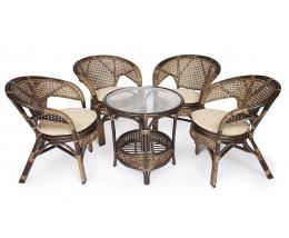 Комплект из ротанга Pelangi 4 кресла стол (без подушек) Орех