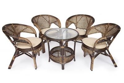 Комплект из ротанга Pelangi 02/15 ( стол со стеклом + 4 кресла ) без подушек