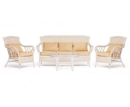 """Комплект для отдыха """"ANDREA"""" (диван + 2 кресла + журн. столик со стеклом + подушки) TCH White (белый), Ткань рубчик, цвет кремовый"""