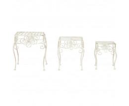 Столики Secret de Maison (набор 3 шт) GARDEN (mod. PL08-5824) металл, 30х37/25х31/21х26см, белый антик (antique white)