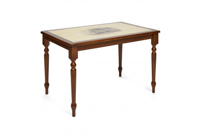 CT 3045P Стол с плиткой дерево гевея/плитка, 115х70х76см, Тёмный Дуб, рисунок-Дерево