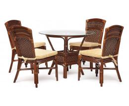 """Комплект обеденный """"ANDREA BAMBOO"""" (стол+4 стула) Pecan Washed (античн. орех), Ткань рубчик, цвет кремовый"""