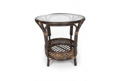 Стол обеденный PELANGI / со стеклом / два тона, цветное плетение, каркас: орех ( светлое плетение )