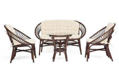 Комплект для отдыха TURKEY стол 2 кресла диван  орех с подушками