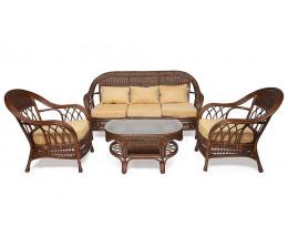 """Комплект для отдыха """"MICHELLE"""" ( стол + диван + 2 кресла ) Pecan Washed (античн. орех), Ткань рубчик, цвет кремовый"""
