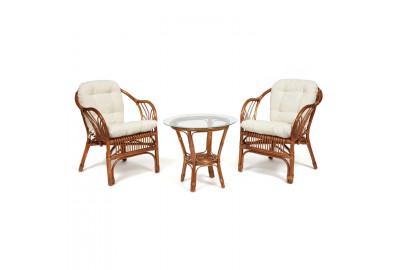 Комплект террасный NEW BOGOTA (2 кресла + стол) с подушками coco brown (коричневый кокос)