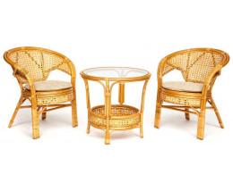 Комплект террасный PELANGI стол 2 кресла без подушек Мед