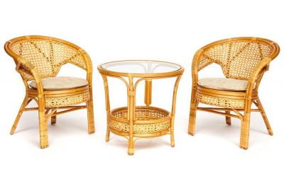 Комплект террасный PELANGI стол со стеклом 2 кресла без подушек Мед