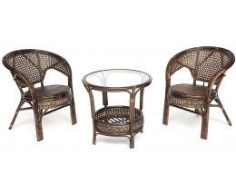 Комплект ротанговый PELANGI стол + 2 кресла б/п Орех