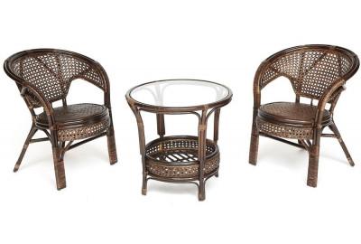 Комплект ротанговый PELANGI стол + 2 кресла без подушек Орех