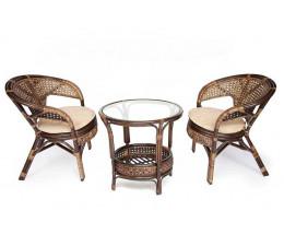 Террасный Комплект PELANGI стол 2 кресла с подушками орех