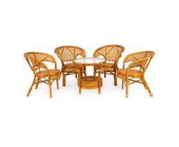 Террасный Комплект PELANGI стол 4 кресла без подушек (мед)
